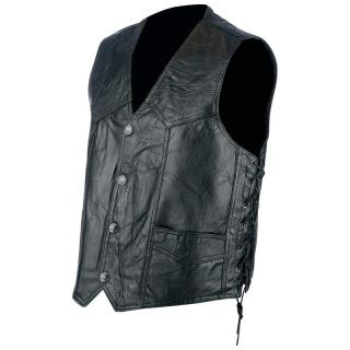 Rocky Ranch Hides™ Men's Black Rock Design Genuine Hog Leather Biker Vest