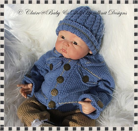 Denim Jacket & Chinos Outfit 16-22 inch doll/0-3m baby-