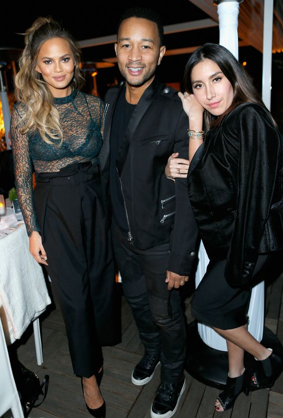 WEST HOLLYWOOD, CA - NOVEMBER 11: (L-R) Model Chrissy Teigen, recording artist John Legend and  hairstylist Jen Atkin attend The Hollywood Reporter's Beauty Dinner at The London West Hollywood on November 11, 2015 in West Hollywood, California.  (Photo by Jeff Vespa/Getty Images for The Hollywood Reporter) via @AOL_Lifestyle Read more: http://www.aol.com/article/2016/05/09/chrissy-teigen-is-now-getting-hate-for-looking-too-good-as-a-new/21374043/?a_dgi=aolshare_pinterest#fullscreen