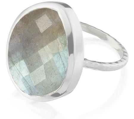 Nugget Ring - Large Sterling Silver Labradorite | Monica Vinader