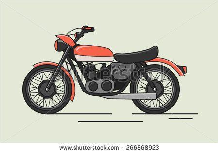 Vintage Vector Motorcycle Flat Illustration