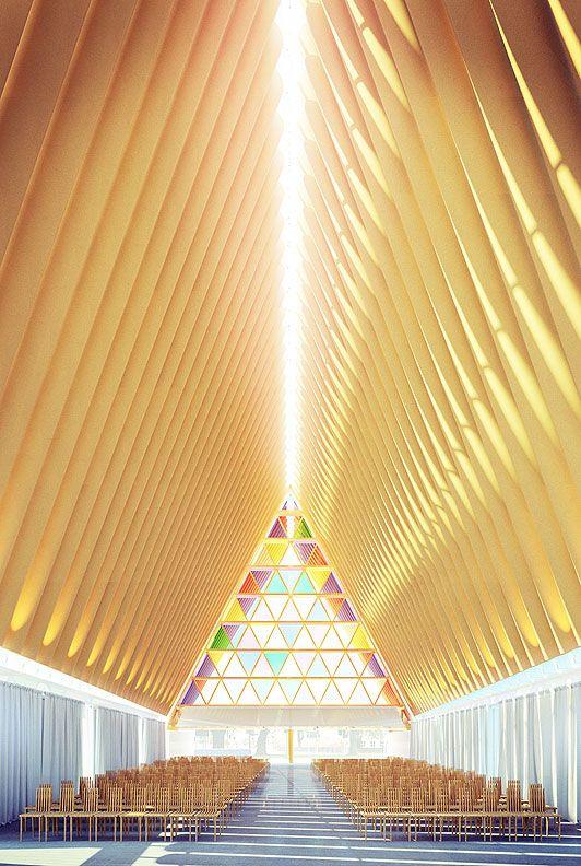 坂茂建築設計:紙の教会 クライストチャーチ ニュージーランド