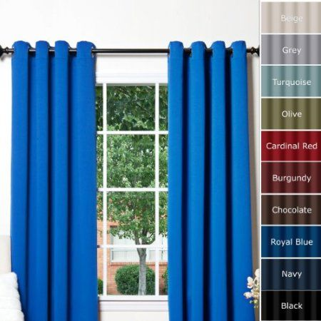 Blackout Curtains blackout curtains 63 : Amazon.com: Royal Blue Grommet Top Thermal Insulated Blackout ...