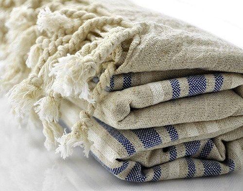 Turkish Towel, Pestemal, Peshtemal, Linen and Dark Blue Striped, Linen and Cotton Blend Turkish Towel