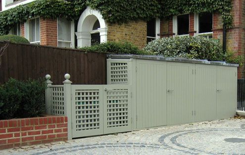 smart garden storage (to hide the bins) for a utility area - The Garden Trellis Company - Products