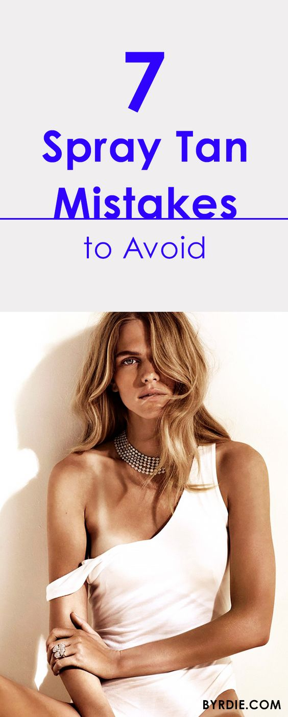 """7 common spray tan mistakes, and how to fix them.  Use #SprayTanSurvivalKit for the best """"no tan lines"""" experience. Everything you need plus more is in the kit #DIYspraytan #SprayTanning  kits + spray tan cans at Amazon"""