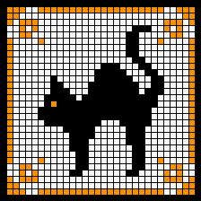 kitty ~~ black cat. I want to use this graph to make perler bead coasters.