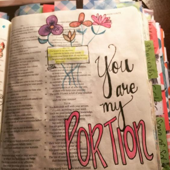 """Psalm 118:57. """"You are my portion"""". #ipaintinmybible #illustratedfaithdaily2016 #journalingbiblecommunity #biblejournaling by mloubre"""