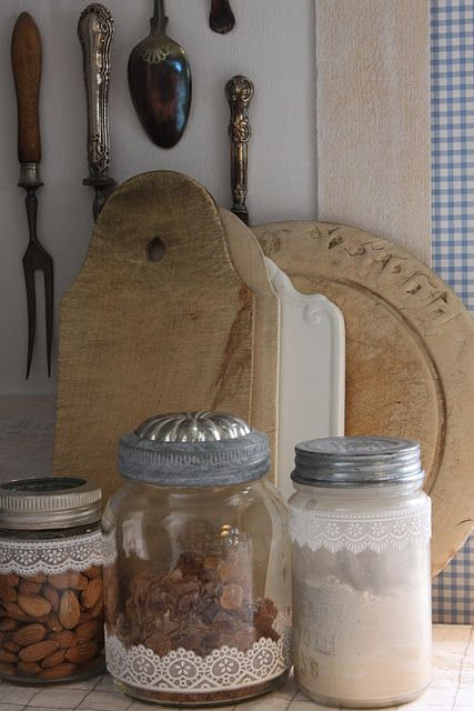 love the old jello mold for a lid insert -always wondered what to do with those old things: Lace Tape, Canning Jars, Decorated Jars, Lace Detail, Lace Jars, Country Kitchens, Glass Jars, Country Cottage