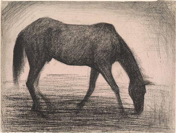 Georges Seurat 1859-1891 Le Cheval Noir 1882 Black conte crayon on laid paper. 9 3/8 x 12 3/8 inches (238 x 314 mm)