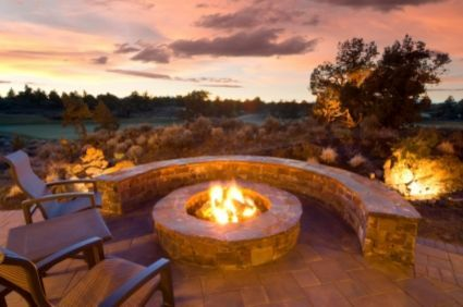 Love the stone bench around the fire pit.  View ain't bad either.
