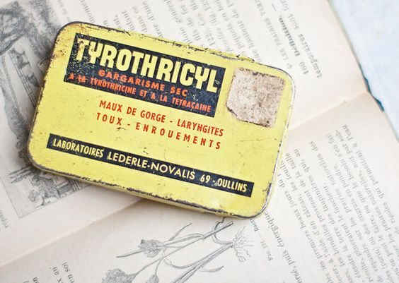 Antique French Tin Box Tyrothricyl Shabby Chic Rustic Yellow Black letters elitett tbteam teamcamelot