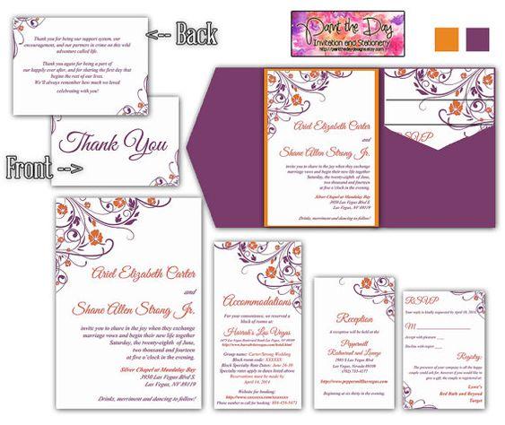 Wedding Pocketfold Invitation Template
