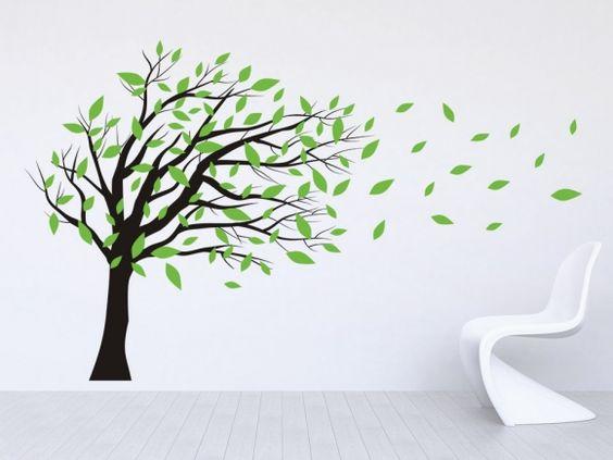 baum mit wehenden bl ttern wohnen kinderzimmer und dekoration. Black Bedroom Furniture Sets. Home Design Ideas