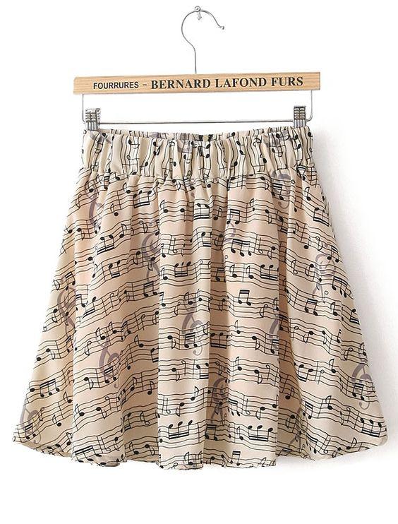 Apricot Elastic Waist Note Print Chiffon Skirt: