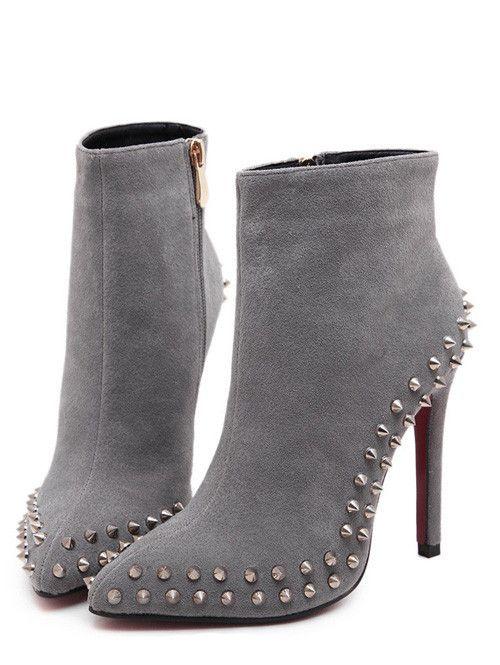 Elegant Women High Heel Sexy Point Toe Ankle Women Boot Zipper Rivet Shoes