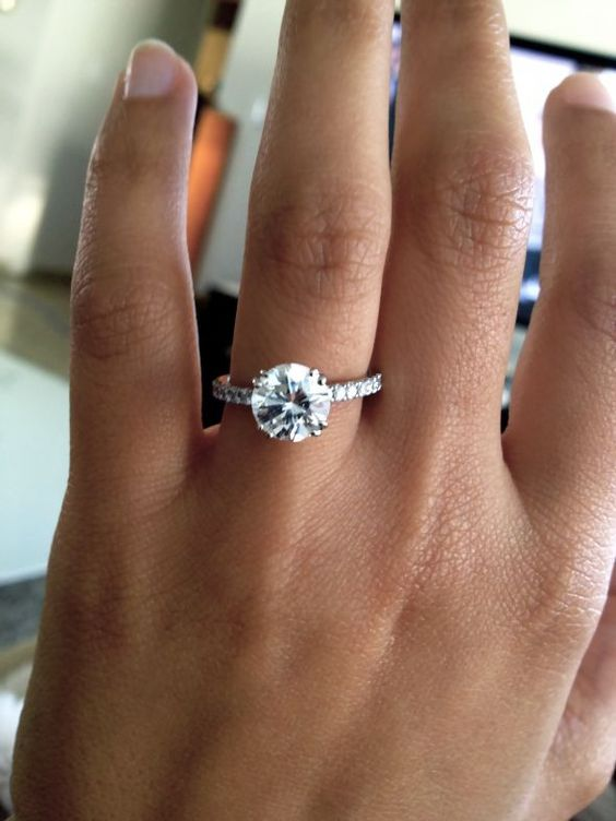 Thin Pave Band Round Cut Diamond Engagement Ring Wedding Pinterest