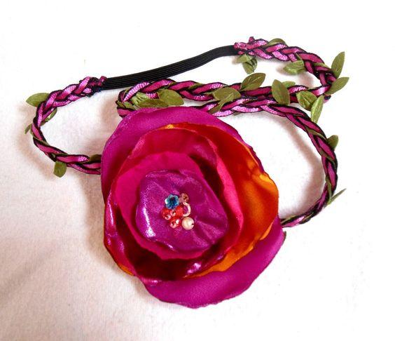 Blüten Brautkranz rosa, Blütenband, Blumenhaarband von Prinzessinnen-Schneiderey auf DaWanda.com
