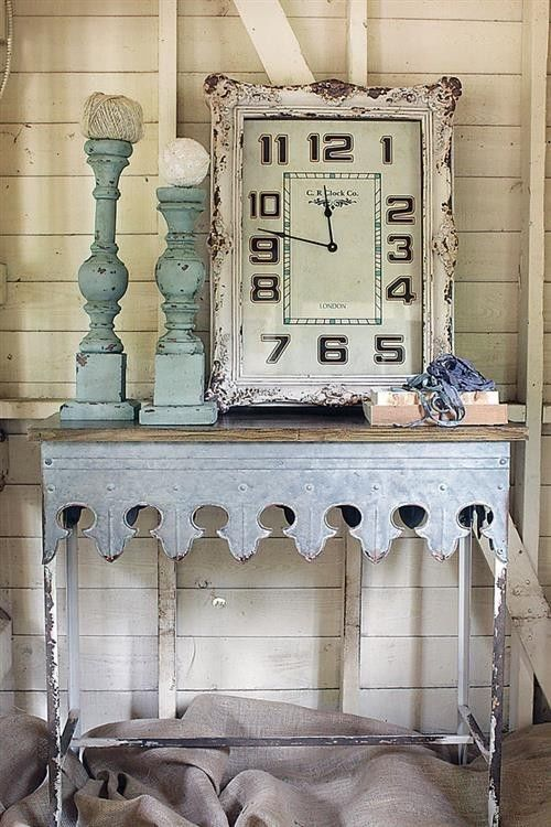 Rustic Farmhouse Galvanized Metal Amp Wood Console Side