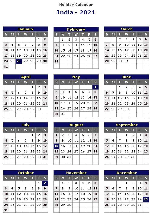 Calendar 2021 India Holidays In 2020 India Holidays Calendar Holiday Calendar Printable