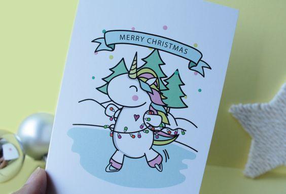 Unicorn Christmas Card Cute and Kawaii
