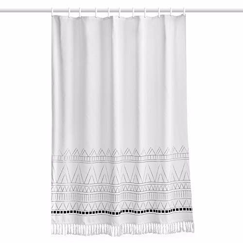 Amazon Com Yokii Tassel Fabric Shower Curtain 84 Inch Extra Long