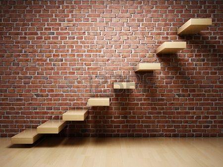 Escalier flottant mur brique rouge l ments architecturaux pinterest - Deco mur brique rouge ...