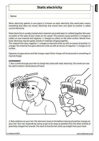Static Electricity - Natural Science Worksheet (Grade 6) | Science ...