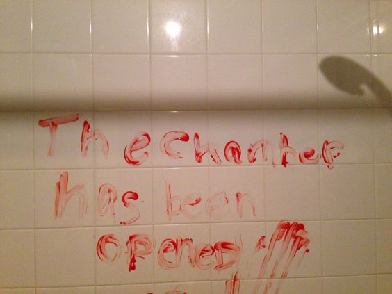 Nerds giving a child a bath + red bath finger paints = great time for a Harry Potter reference