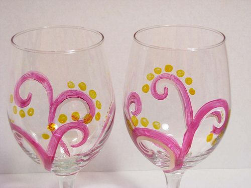 Hand Painted Wine Glasses: