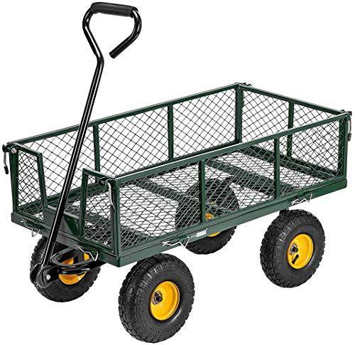 Best Seller Vivohome Heavy Duty 1100 Lbs Capacity Mesh Steel Garden Cart Folding Utility Wagon Removable Sides 10 Inch Wheels Green Online Toptrendygroup In 2020 Utility Wagon Porch Rocker Heavy Duty