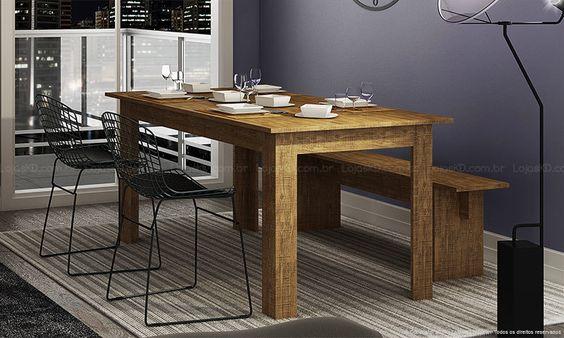 Conjunto para Sala de Jantar com Mesa, 2 Cadeiras e Banco Rústico/Preto - Caaza R$914,38 Mesa (90x180x77,30) Cadeira (56x49x84) Banco (30x140x45)