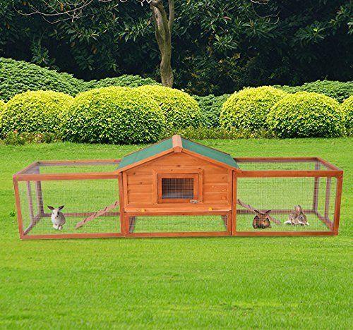 Cage à lapin en bois de grande taille avec un orifice d'observation et deux…