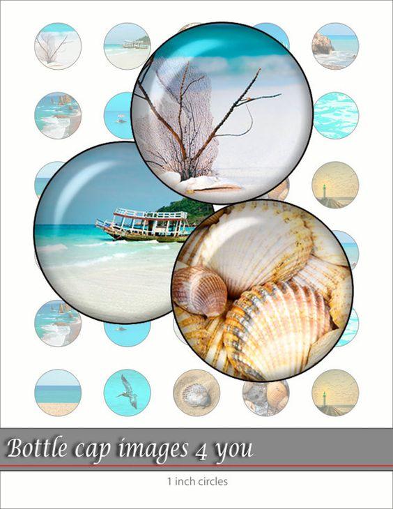 Summer sea - Digital Collage Sheet 1 inch circle Bottle cap images for Pendants, Buttons, Bottle caps.