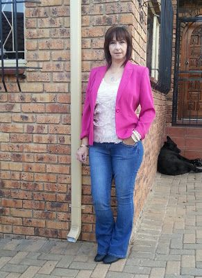 Denim and two shades or pink with a little lace