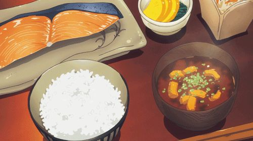 Grilled salmon, soup, rice
