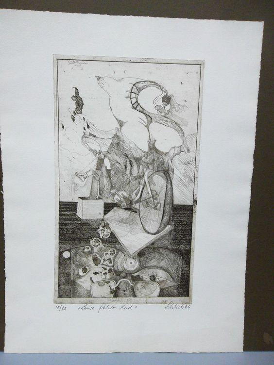 """Wolfgang Schlick - """"Luise fährt Rad"""" / Original Radierung von 1966, signiert. in Antiquitäten & Kunst, Grafik, Drucke, Originaldrucke 1950-1999   eBay"""