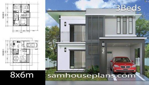 House Plans Idea 8x7 With 3 Bedrooms Sam House Plans House Plans Small Modern House Plans Architectural Design House Plans