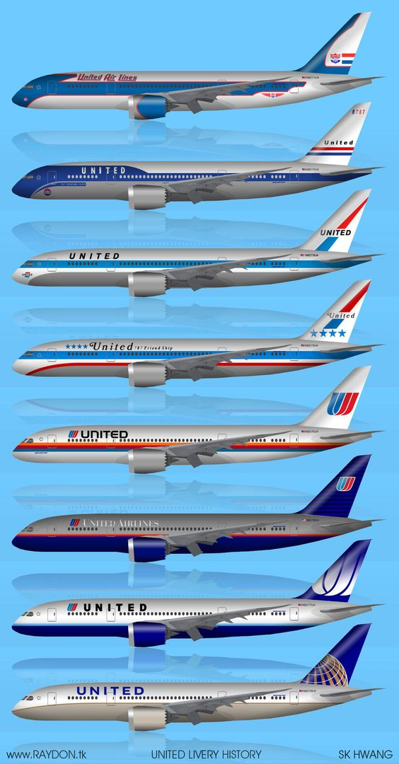 United historical liveries through the years, a 787 art essay