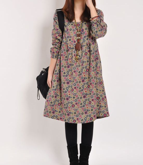 Red Floral Print cotton dress long sleeve dress linen dress casual ...