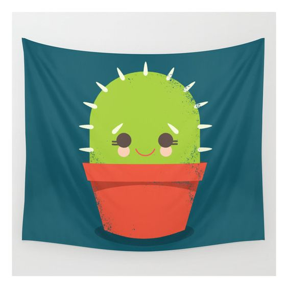 Kawaii Cactus Dude Wall Tapestry ($39) ❤ liked on Polyvore featuring home, children's room, children's decor and wall tapestries