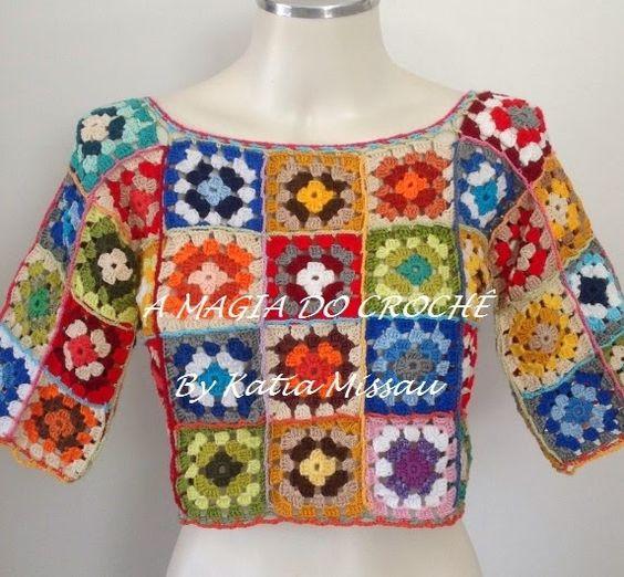 A MAGIA DO CROCHÊ - Katia Missau: Cropped de Squares Coloridos em Crochê - Cropped Colorido Ana Maria