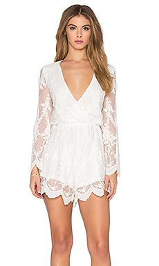 Toby Heart Ginger Lace Billow Front Playsuit in White