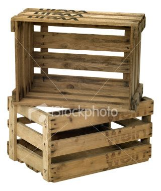 Stacking wooden crates for all of baby Will's books.  Going to make him a reading corner in his room
