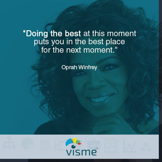 """Doing your best at the moment puts you in the best place for the next moment."" Oprah quotes about success:"