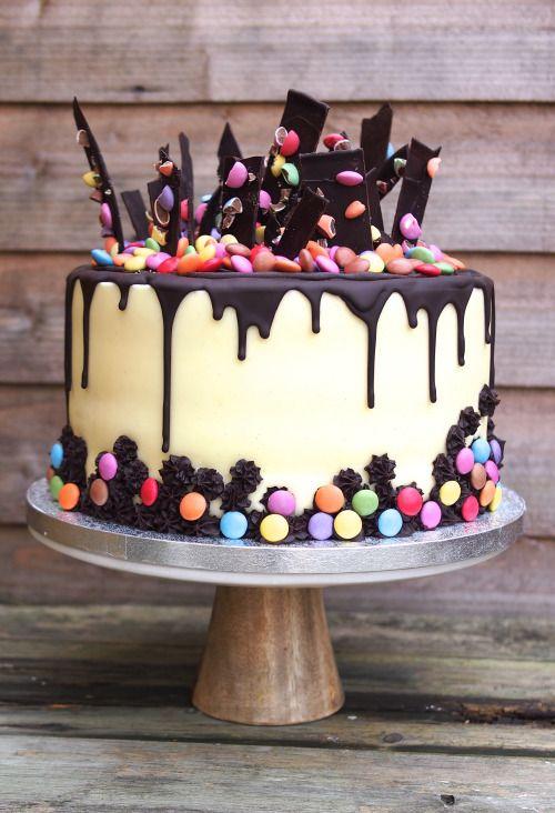 Chocolate drip and shard cake