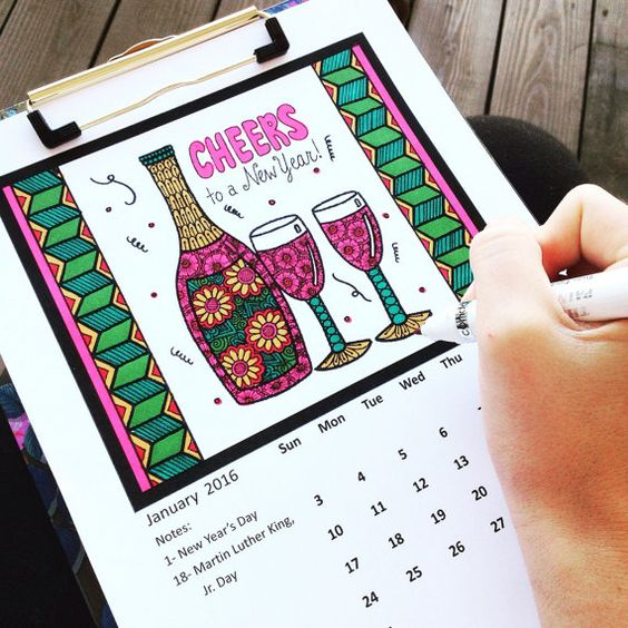 2016 Printable Calendar- Adult