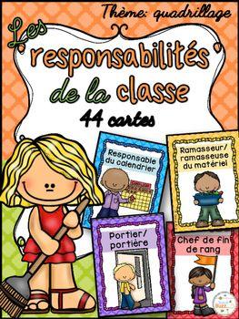 44 cartes de responsabilités dans la classe pour faire votre tableau de responsabilités à la rentrée. French Classroom Jobs. Thème: quadrillage.