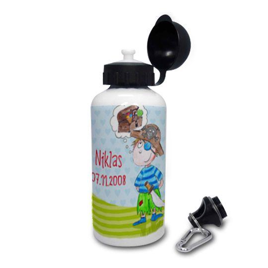 Aluflasche mit Namen für kleine Piraten, Kollektion: Märchenwelt / by Finlix