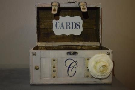 Vintage Custom Wedding Card Box Holder - Medium Barrel Trunk, Vintage Wedding Card Holder